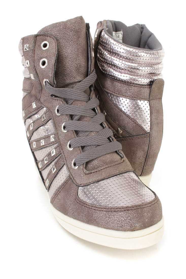 Grey Lace Up Studded Sneaker Wedges Faux Leather