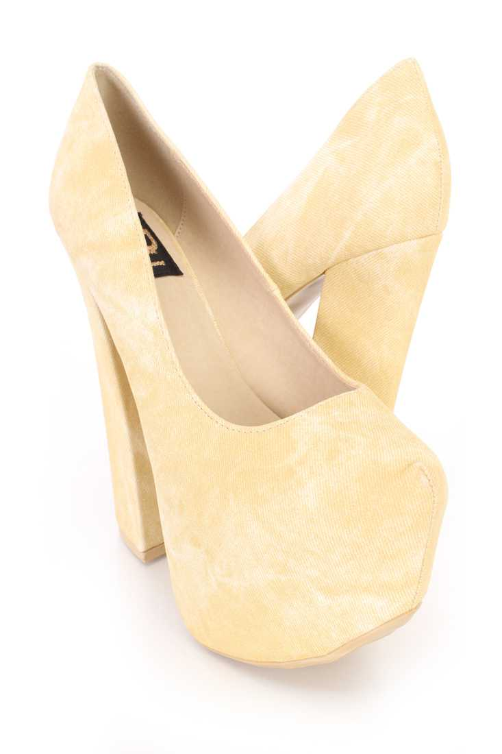 Yellow Stone Wash Chunky Platform Pump Heels Faux Leather
