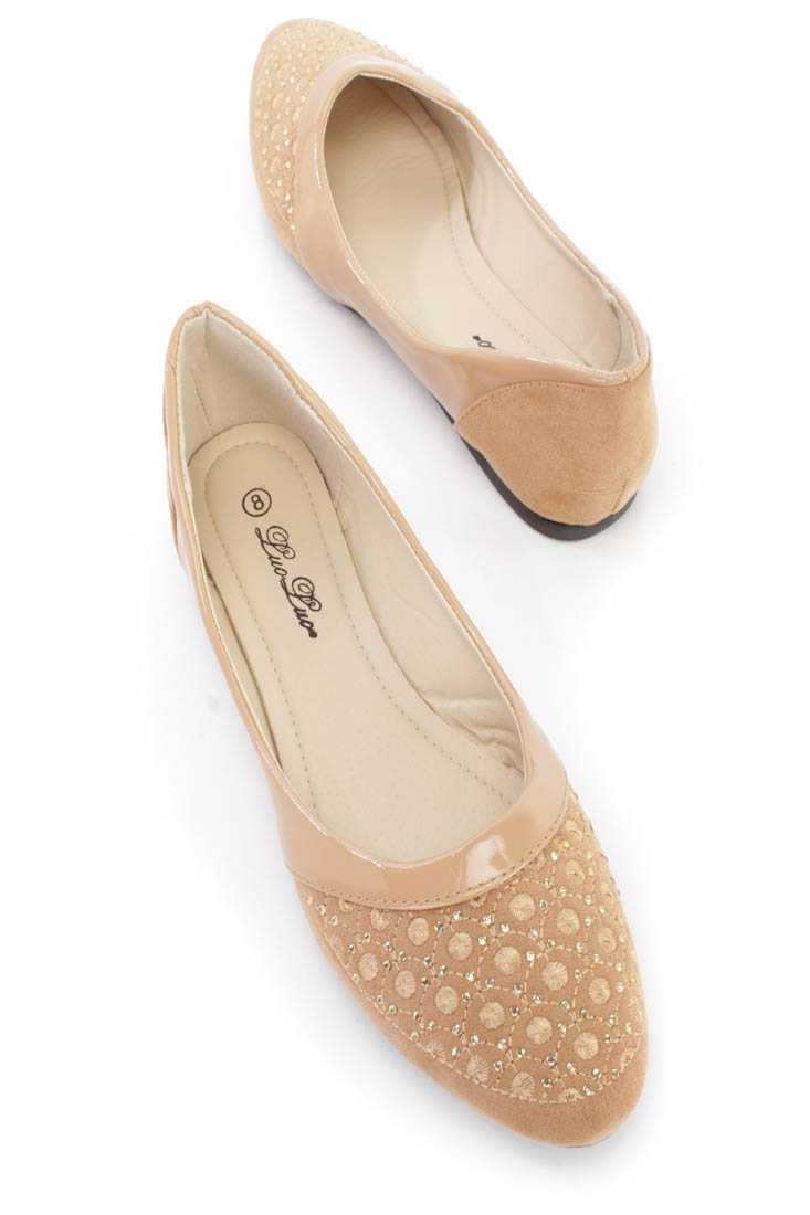 Camel Embroidered Rhinestone Design Flats Faux Suede