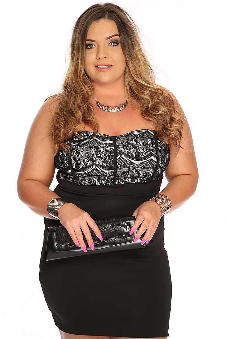 Black Eyelash Lace Sexy Plus Size Strapless Party Dress