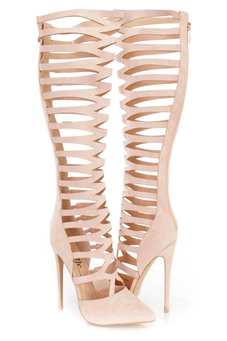 Blush Strappy Single Sole Gladiator Heel Boots Faux Suede