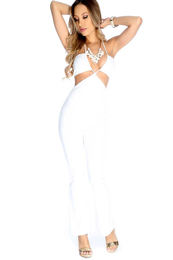 Sexy White V-Front Strap Cut Out Halter Jumpsuit