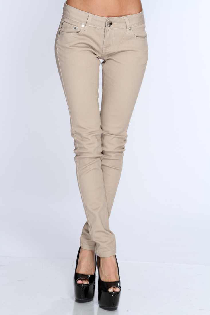 Khaki Zip Fly Button Closure Skinny Jeans