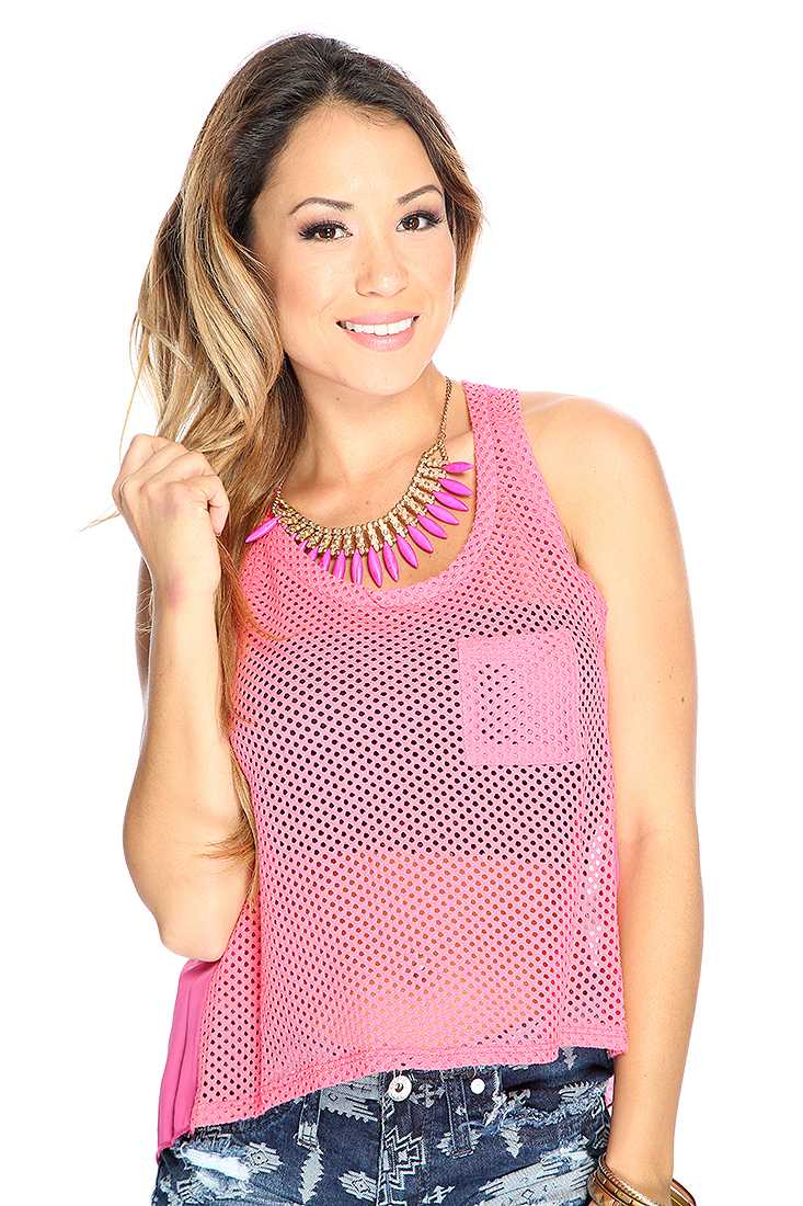 Casual Sleeveless Netted Pink Top