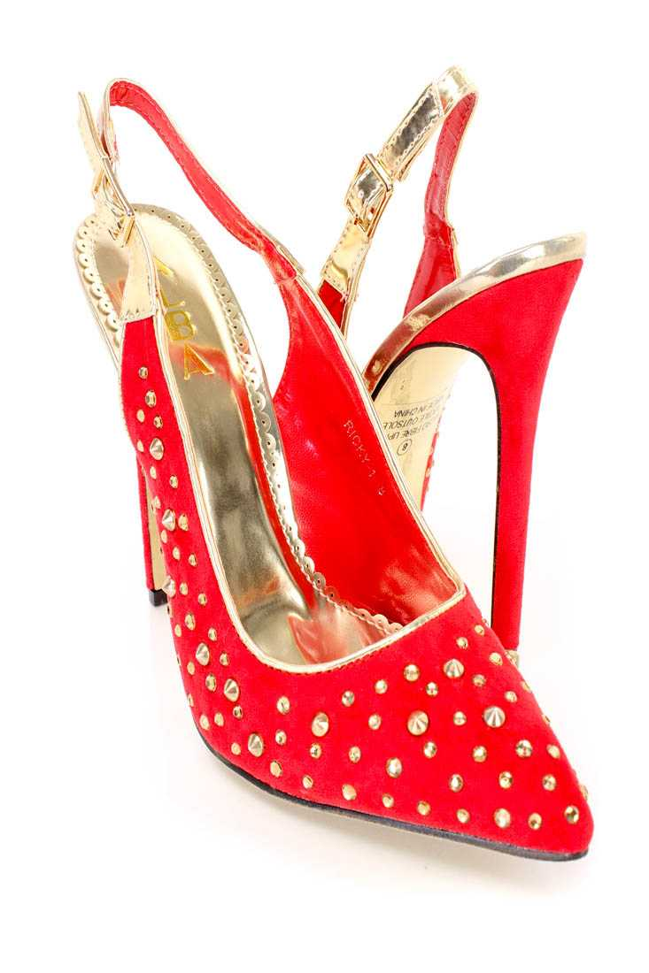 Red Gold Rhinestone Studded Decor Sling Back Pump High Heels Faux Suede