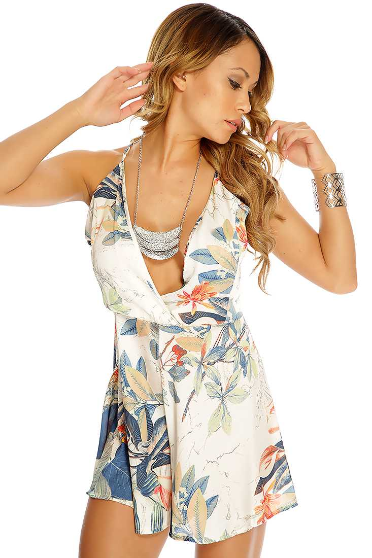 Cream Floral Print Cross Strap Romper
