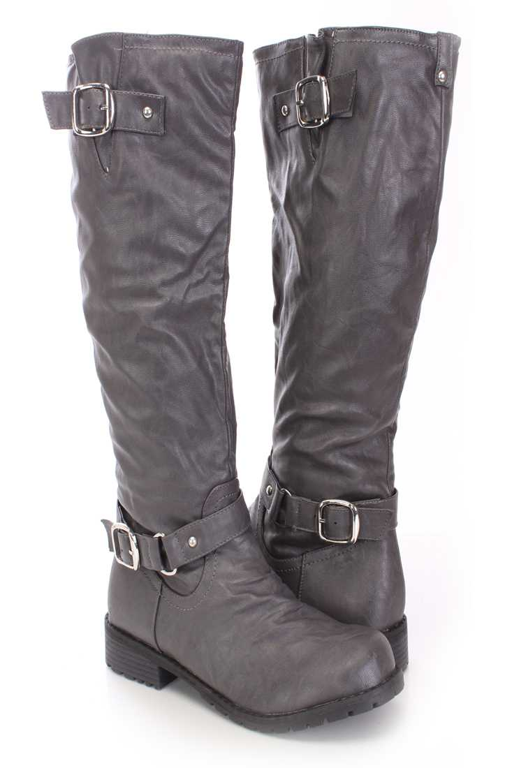 Grey Knee High Combat Boots Faux Leather