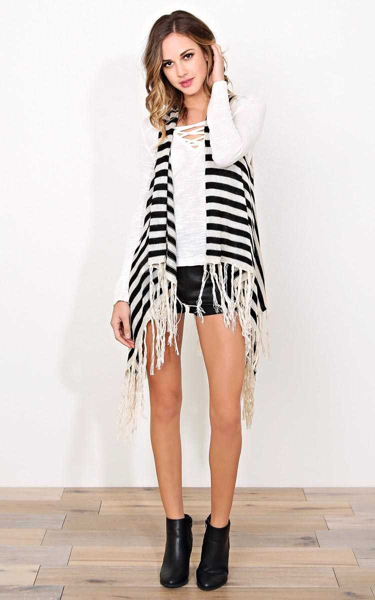 Tribal Cool Sweater Knit Vest - - Black Combo in Size by Styles For Less