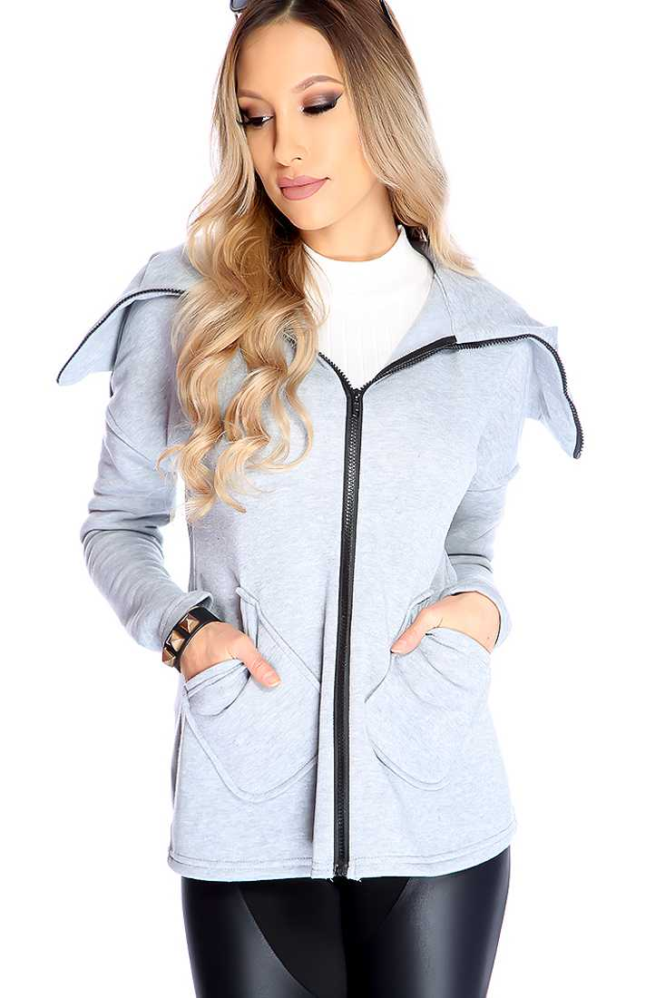 Grey Long Sleeve Causal Sweater