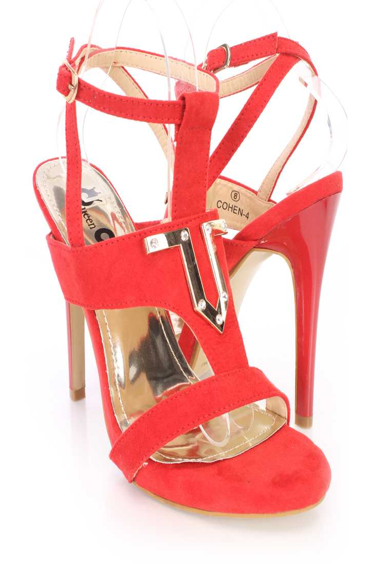 Red Wrap Around Strap Open Toe High Heels Faux Suede