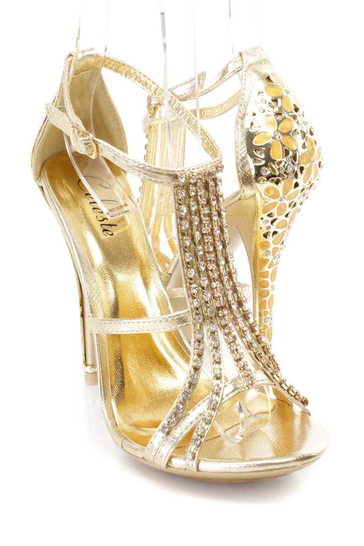 Gold Rhinestone Strappy High Heels Faux Leather