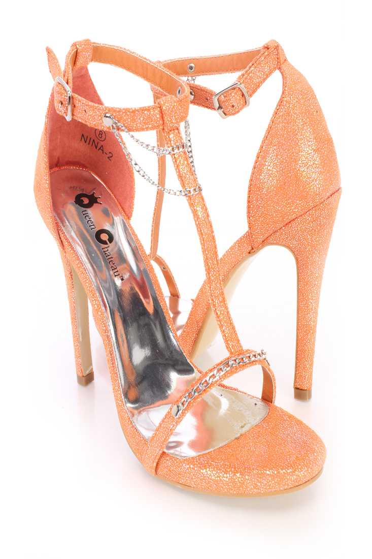 Coral Chain T Strap Single Sole Heels Shimmer Fabric
