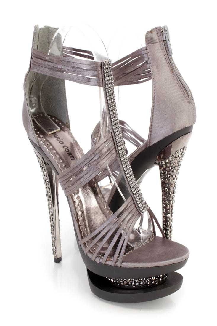 Pewter Rhinestone Strappy 6 Inch High Heels Satin