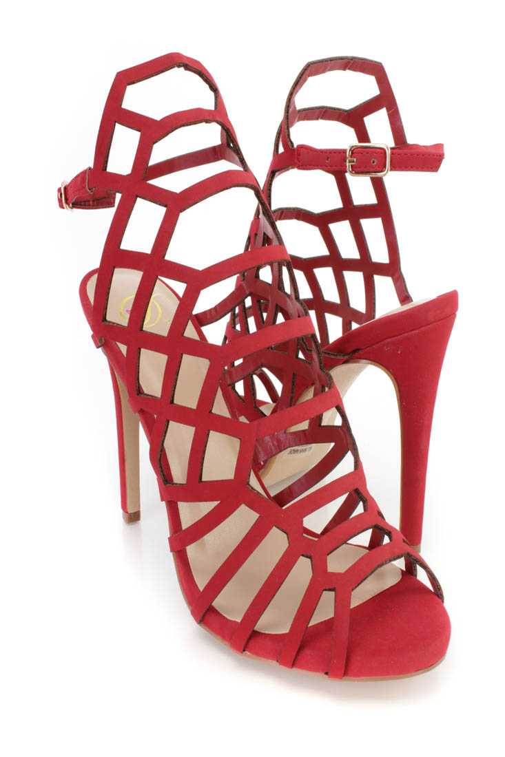 Red Strappy Single Sole High Heels Nubuck Faux Leather