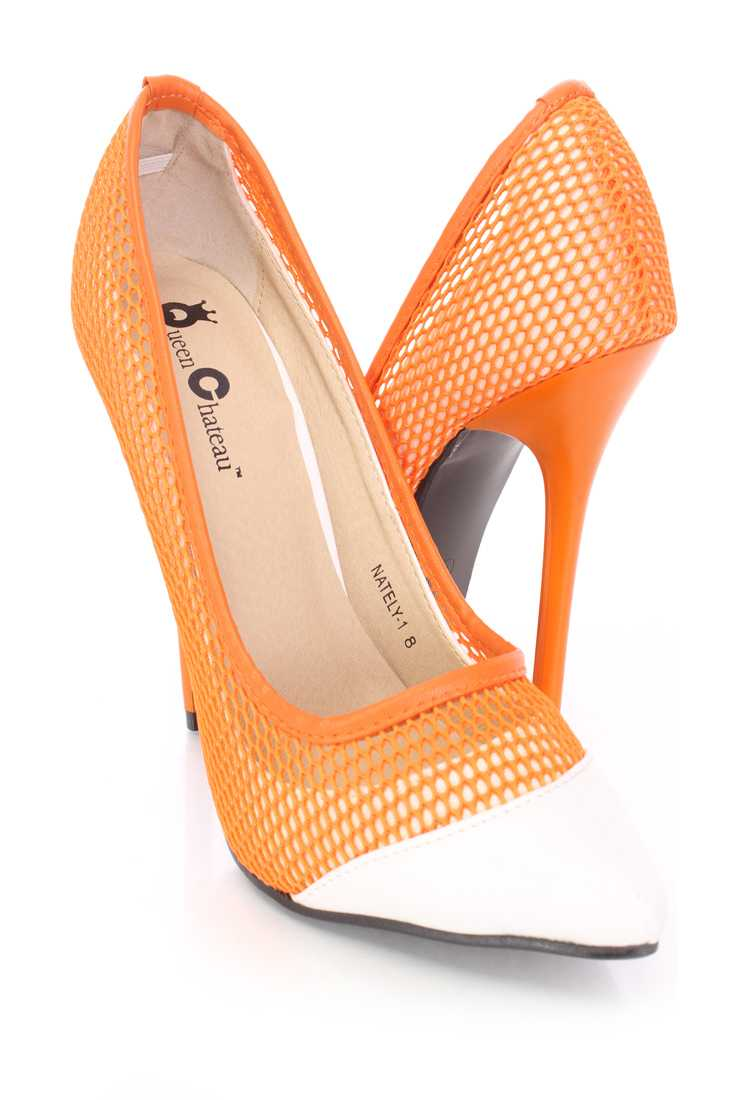 Orange Netted Two Tone Single Sole Pump High Heels Fabric