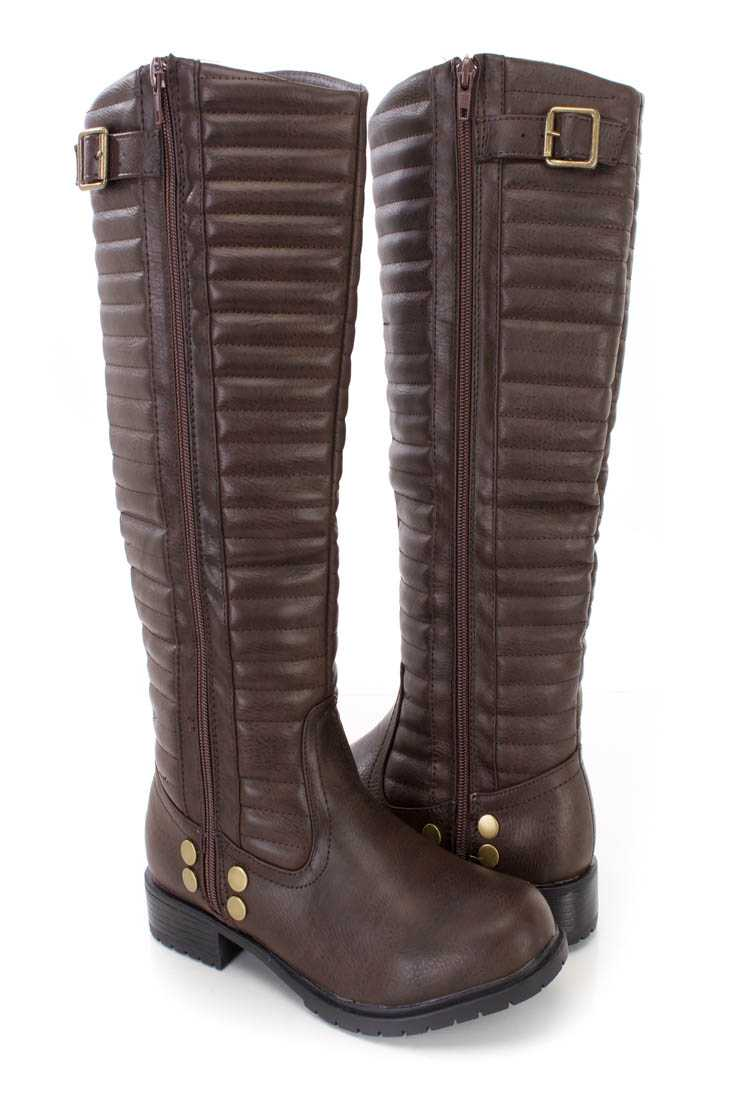 Brown Stitched Shaft Riding Boots Faux Leather