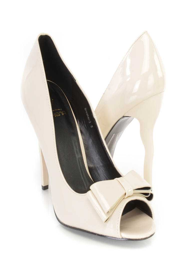 Nude Peep Toe Bow Tie Single Sole Pump High Heels Patent