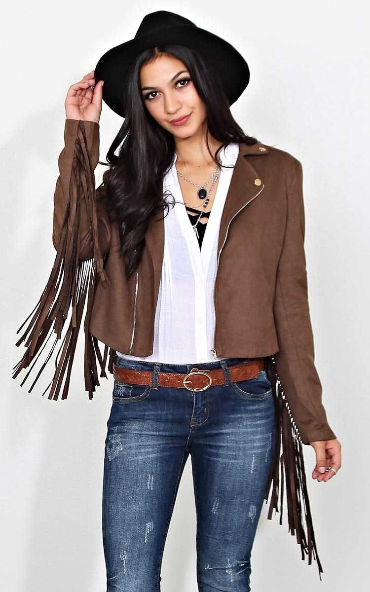 Ryder Fringe Moto Jacket - SML - Brown in Size Small by Styles For Less