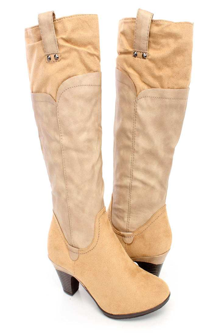 Nude Two Tone Knee High Boots Faux Leather Suede