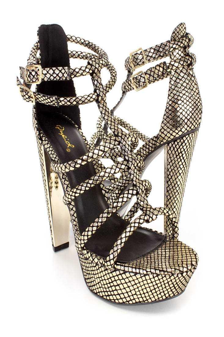 Light Gold Strappy Open Toe Platform High Heels Nubuck Faux Leather