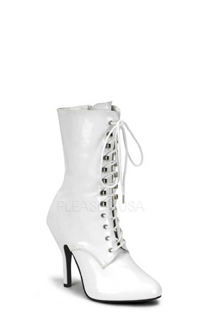 White Lace Up Single Sole Booties Patent