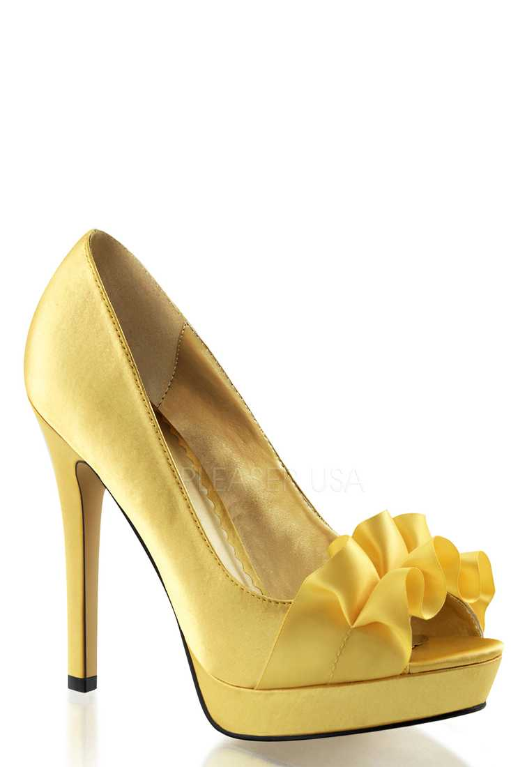 Yellow Peep Toe Pump High Heels Satin