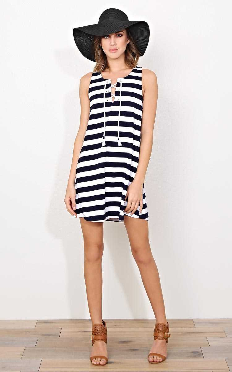 Saint Barts Lace Up Shift Dress - - Navy Combo in Size by Styles For Less