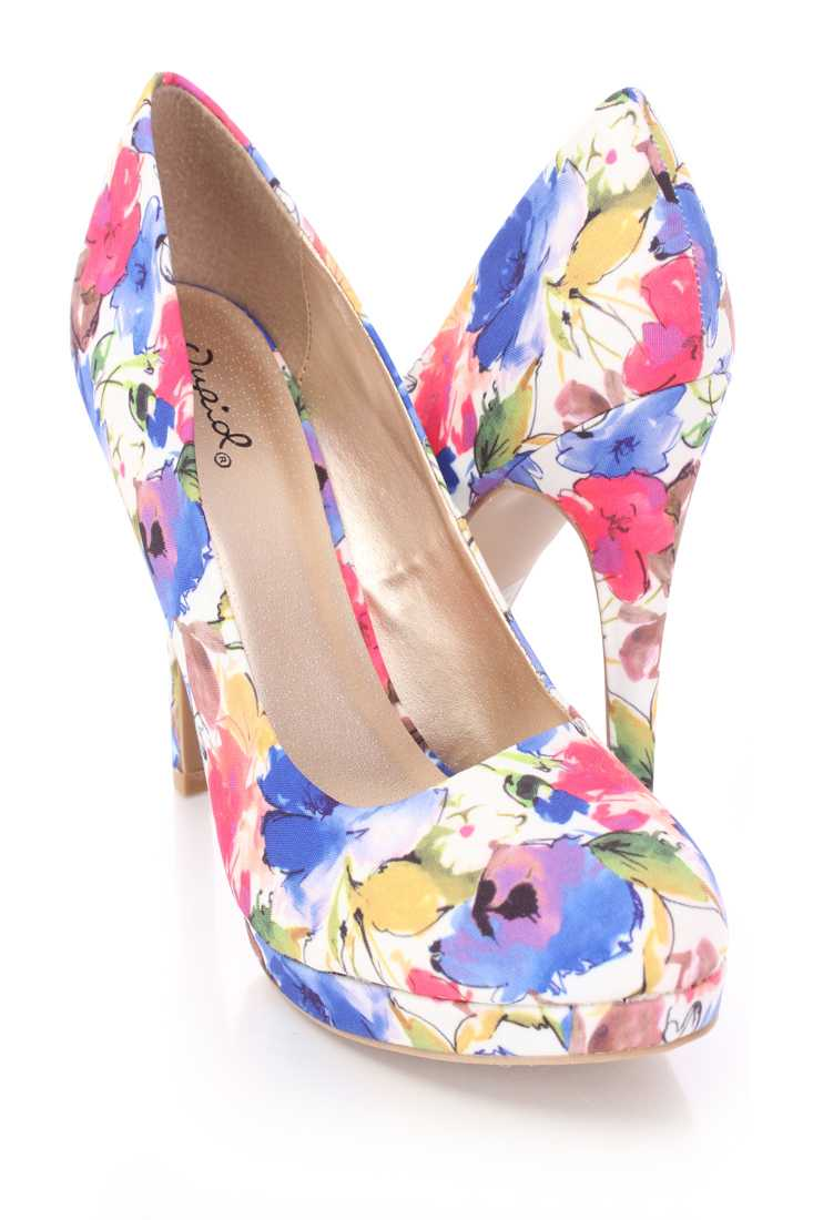 White Multi Floral Print Pump High Heels Fabric