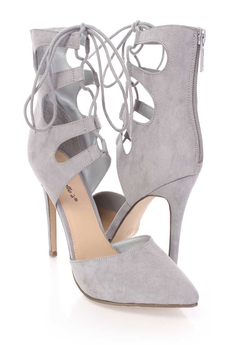 Grey Strappy Lace Up Single Sole Booties Faux Suede