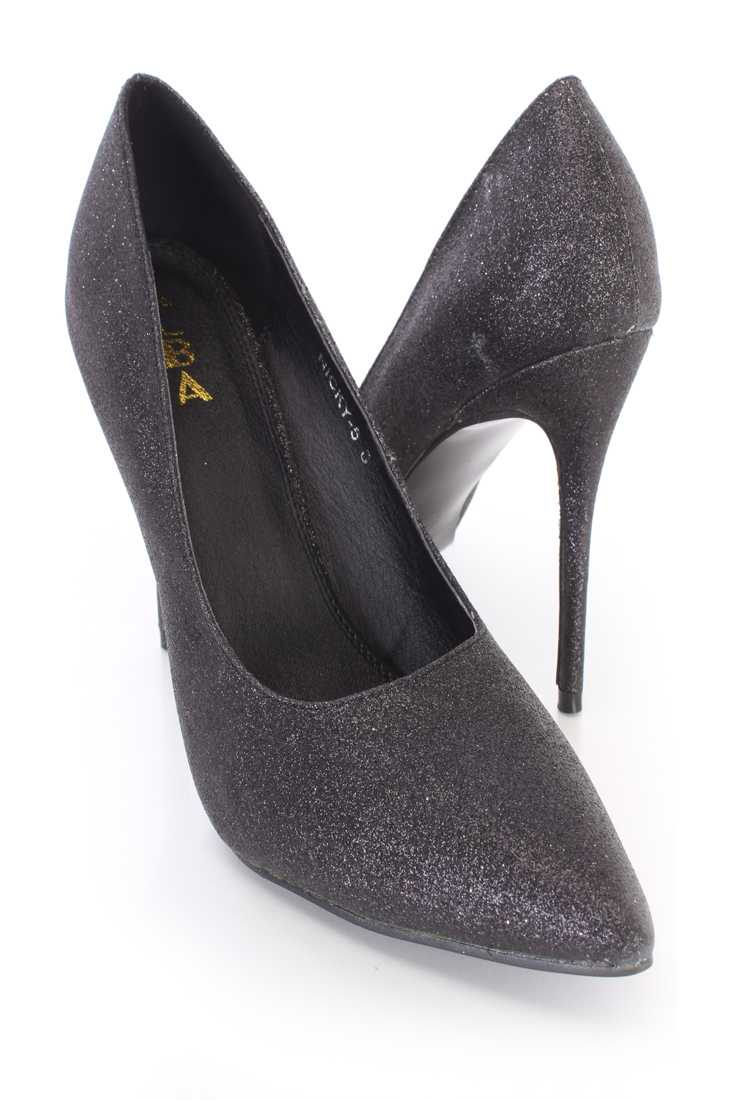 Black Pointed Toe Single Sole Pump High Heels Glitter