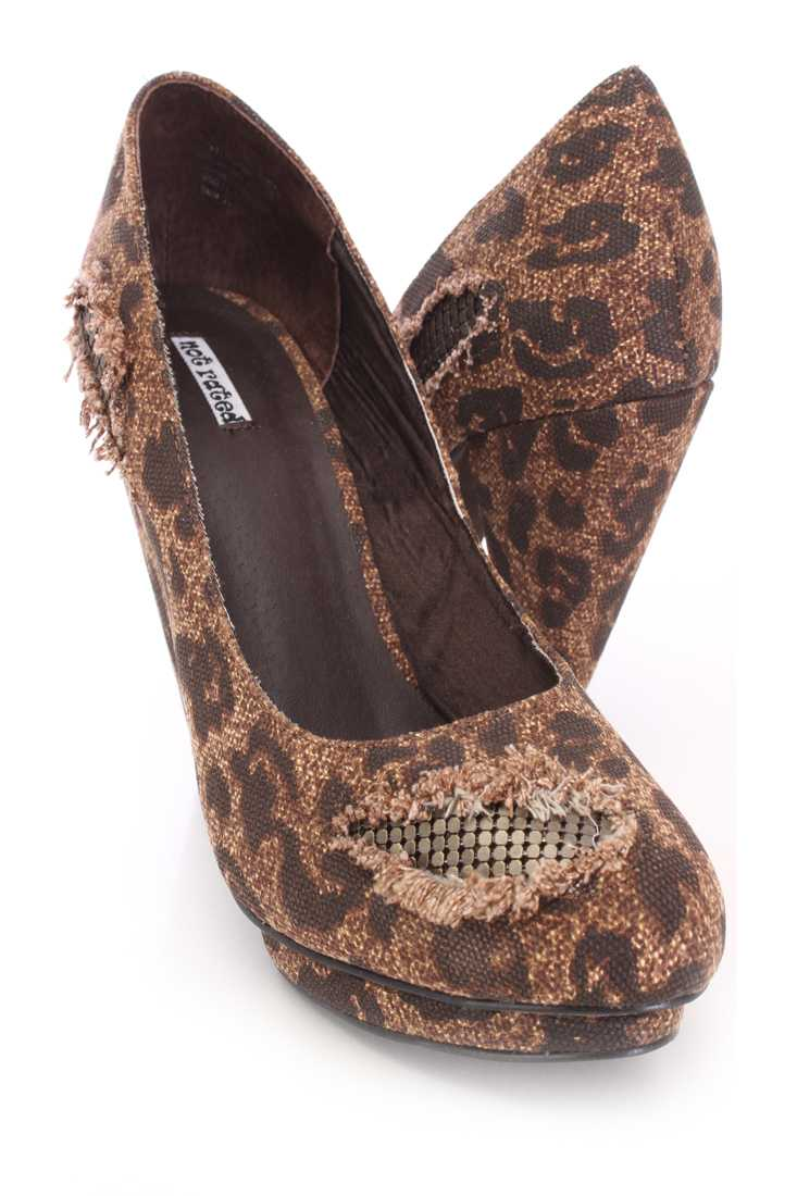 Brown Animal Print Distressed Pump High Heels Canvas