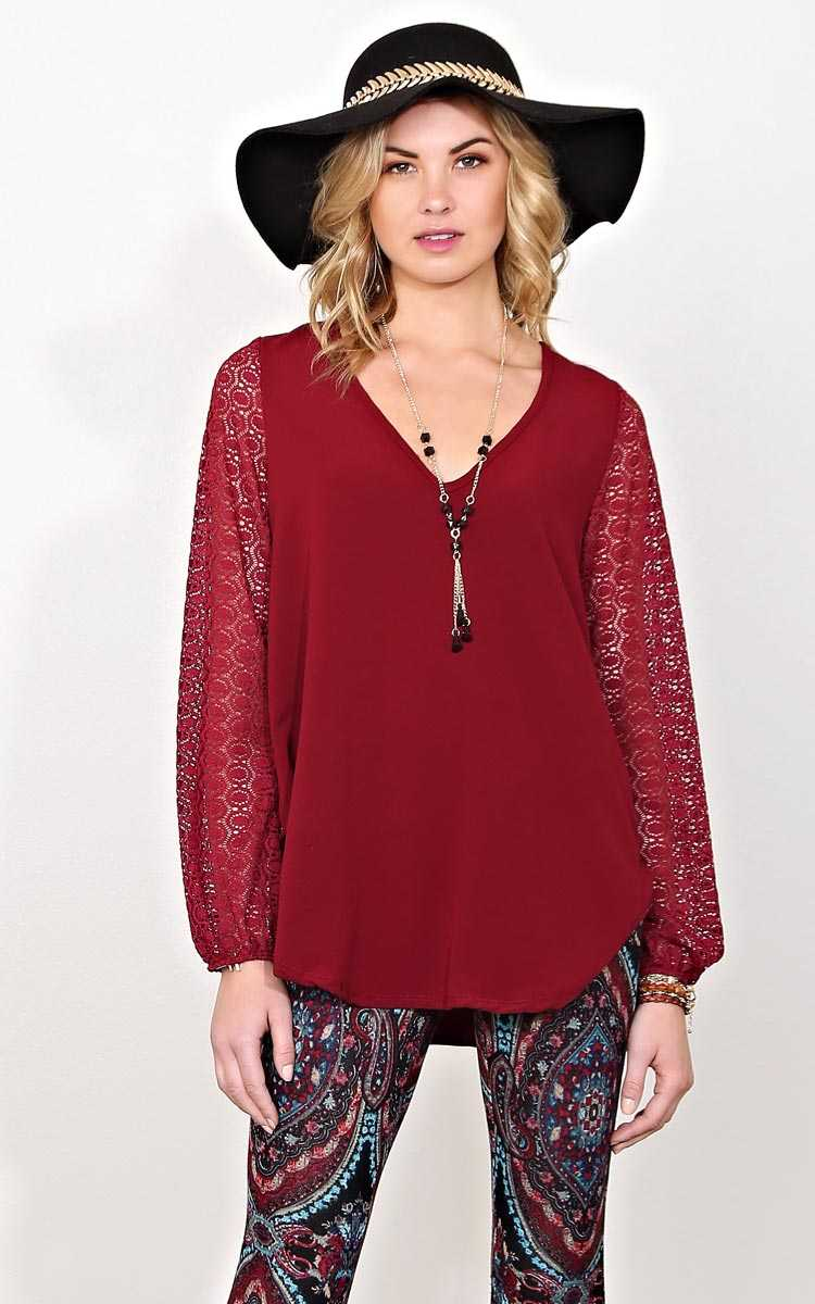Raquel Burgundy Woven Necklace Top - MED - Burgundy in Size Medium by Styles For Less