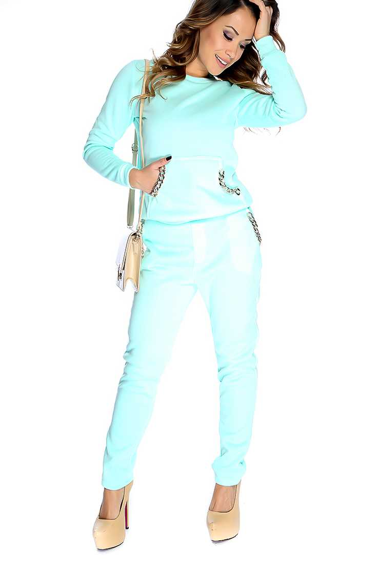 Seafoam Long Sleeves Metal Chain Detail 2 Pieces Outfit
