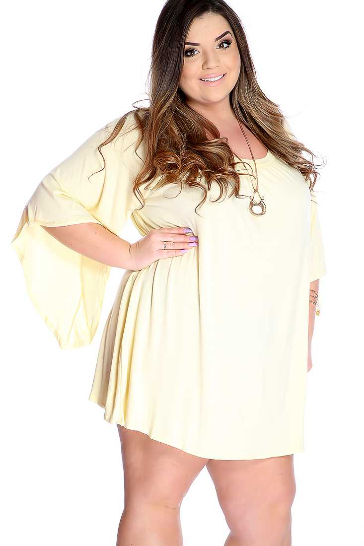 Sexy Baby Yellow Flare Sleeves Casual Plus Size Dress