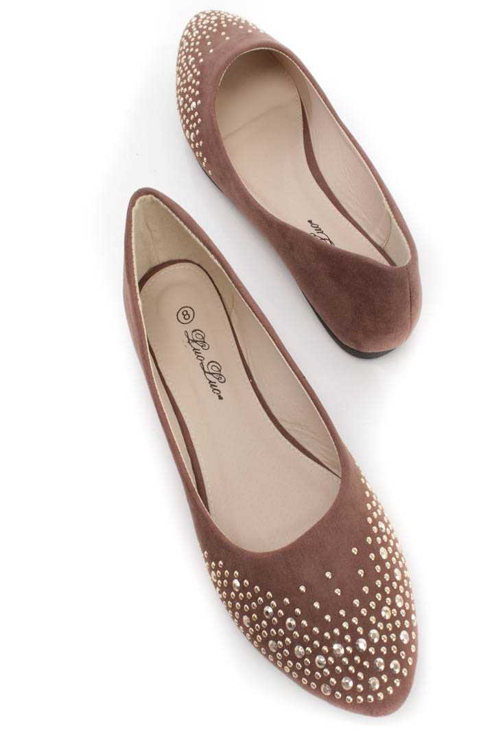 Brown Studded Almond Shaped Closed Toe Faux Suede Flats