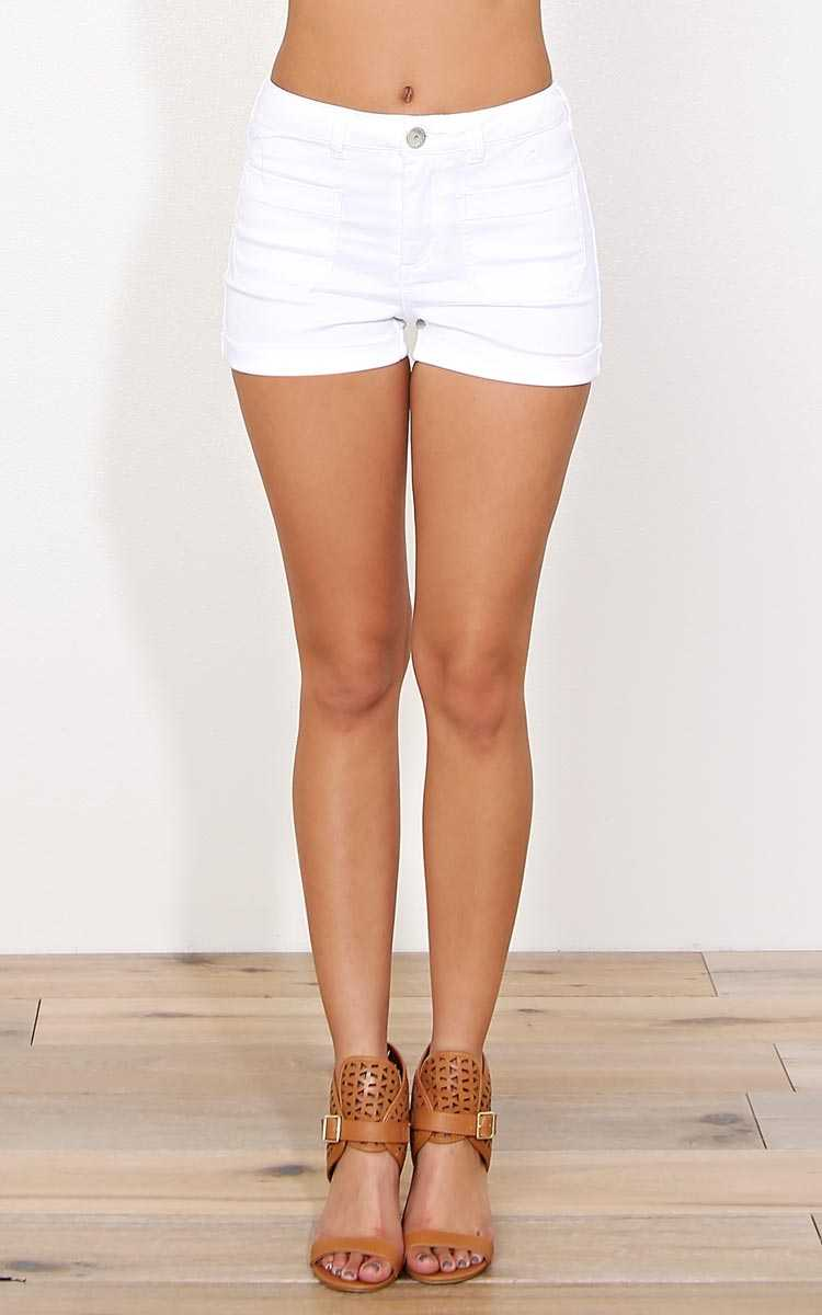 Suns Up High Waisted Denim Shorts - White Denim in Size by Styles For Less
