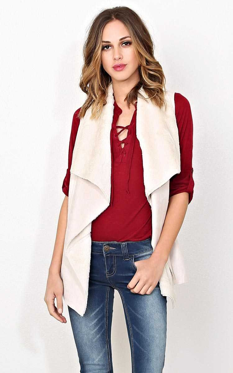 Outta Sight Faux Shearling Vest - - Natural in Size by Styles For Less