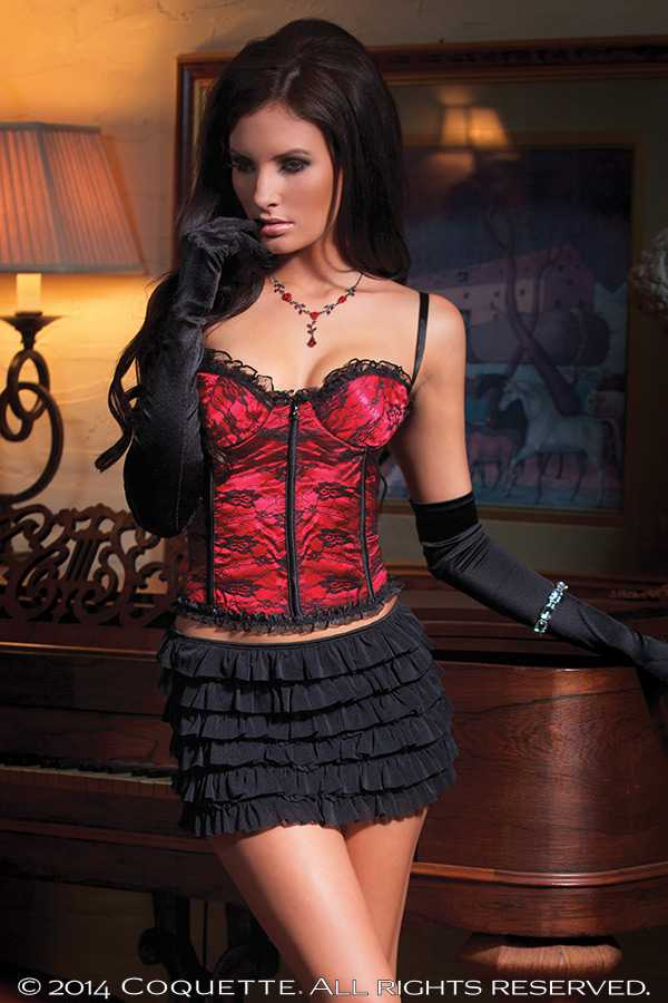 RED SATIN LACE OVERLAY LACE UP INTIMATE CORSET TOP