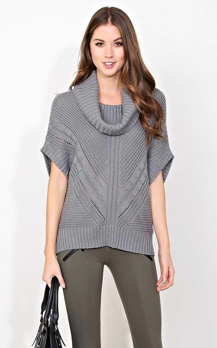 Aimee Cowl Neck Sweater Knit Top - SML - Med Grey in Size Small by Styles For Less