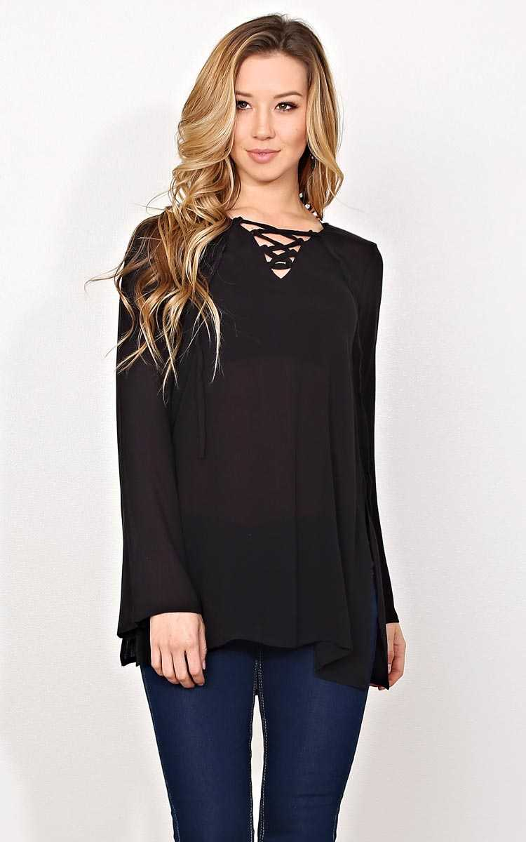 Gabrielle Gauze Woven Tunic - - Black in Size by Styles For Less