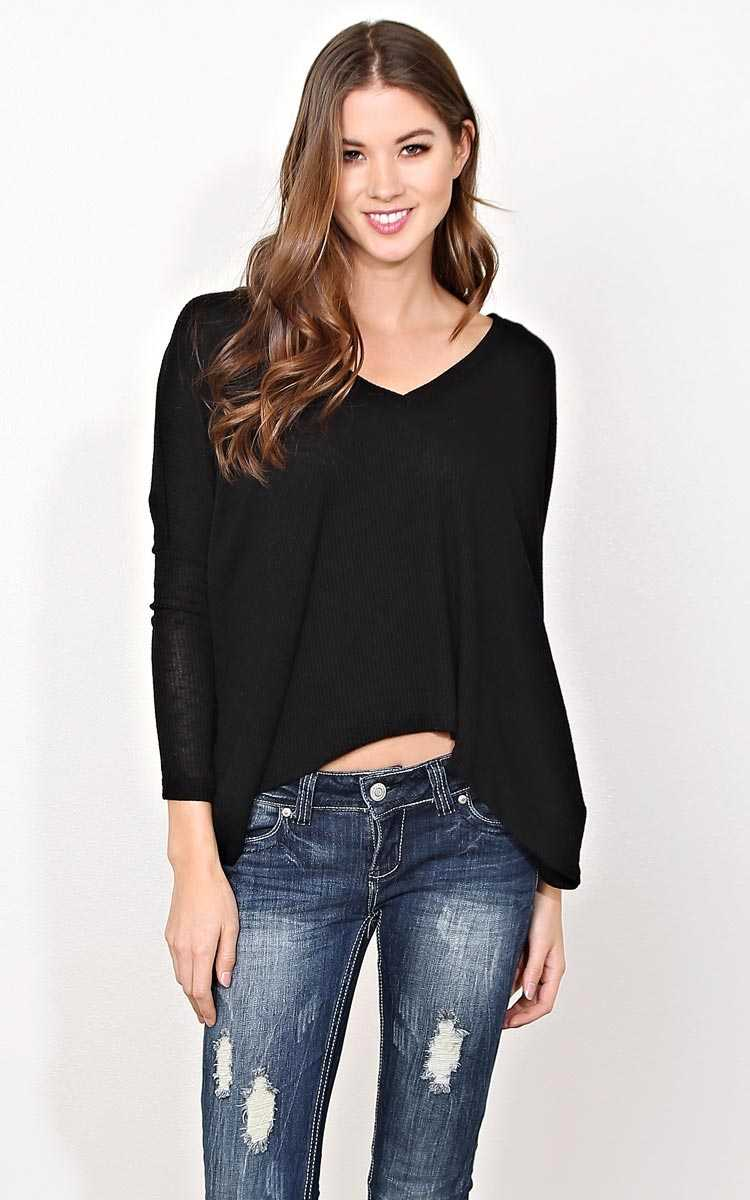 Black Better Times Rib Knit Top - SML - Black in Size Small by Styles For Less