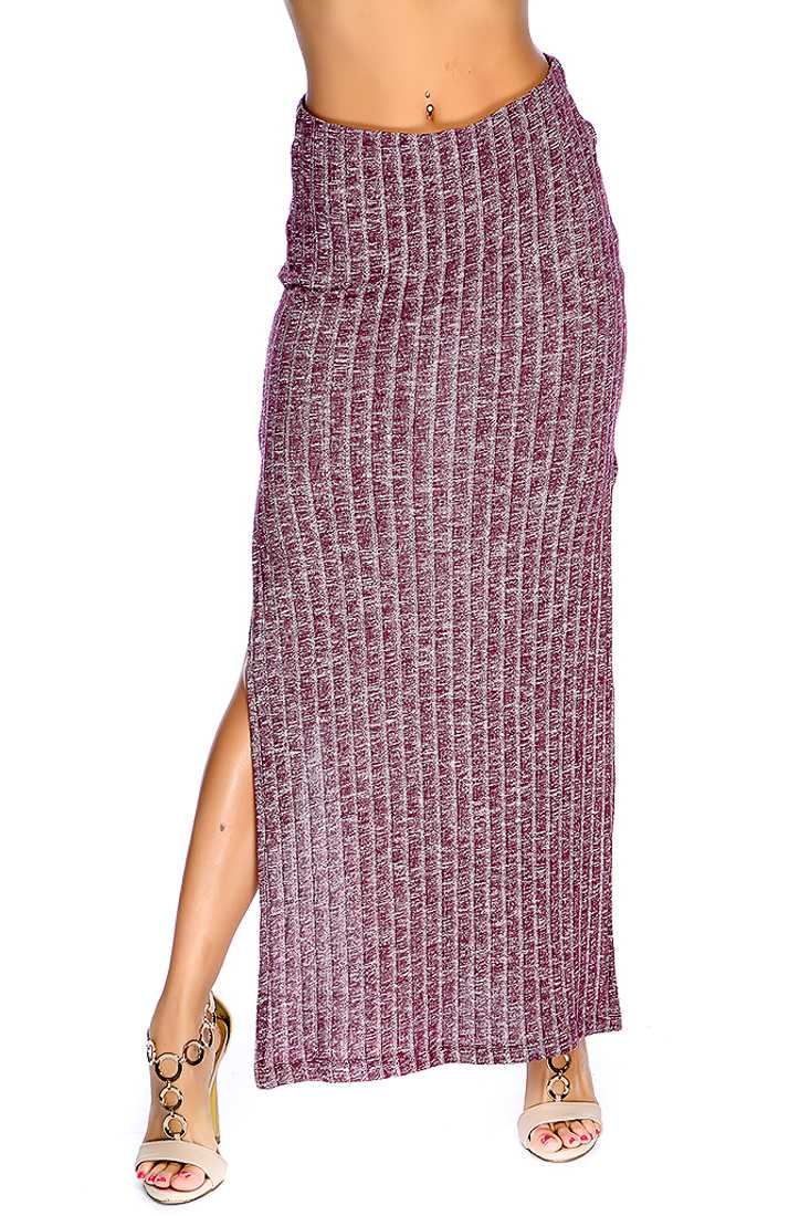 Wine Double Side Slit Ribbed Casual Maxi Skirt