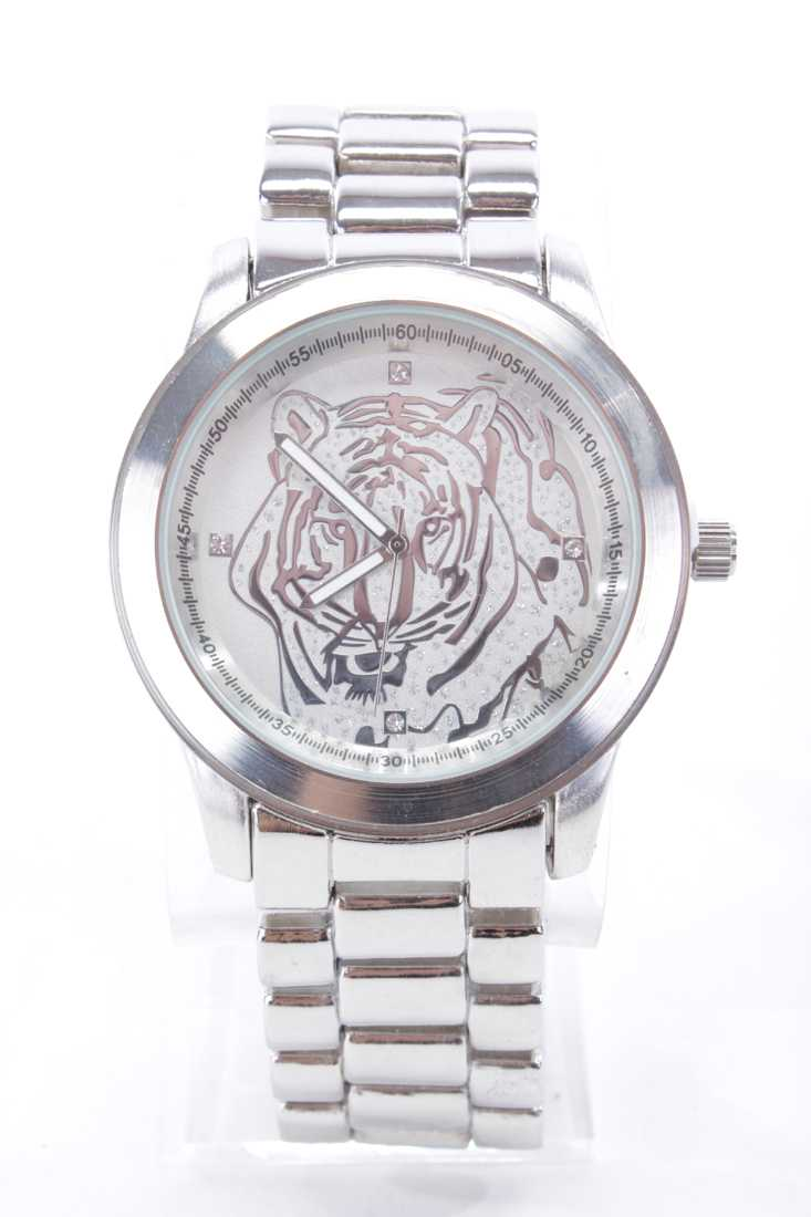 Silver Shimmer Animal Face High Polish Metal Round Face Watch