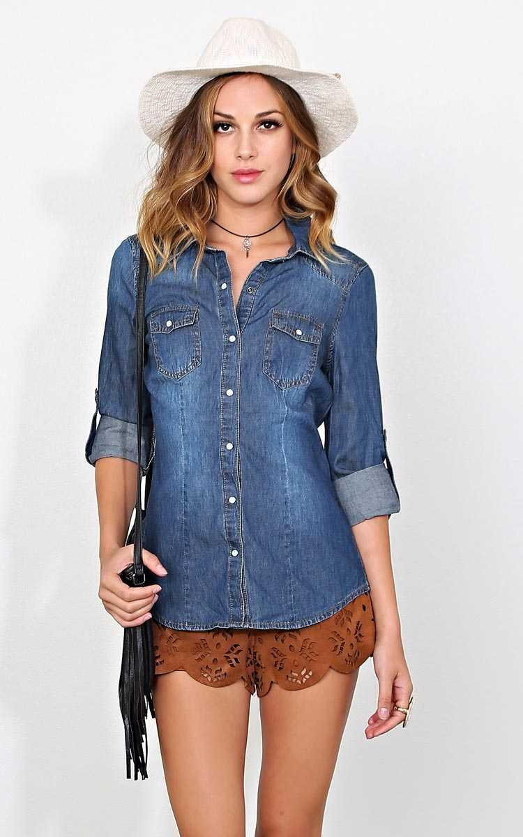 Jet Set Chambray Top - Dark Denim in Size X-Large by Styles For Less