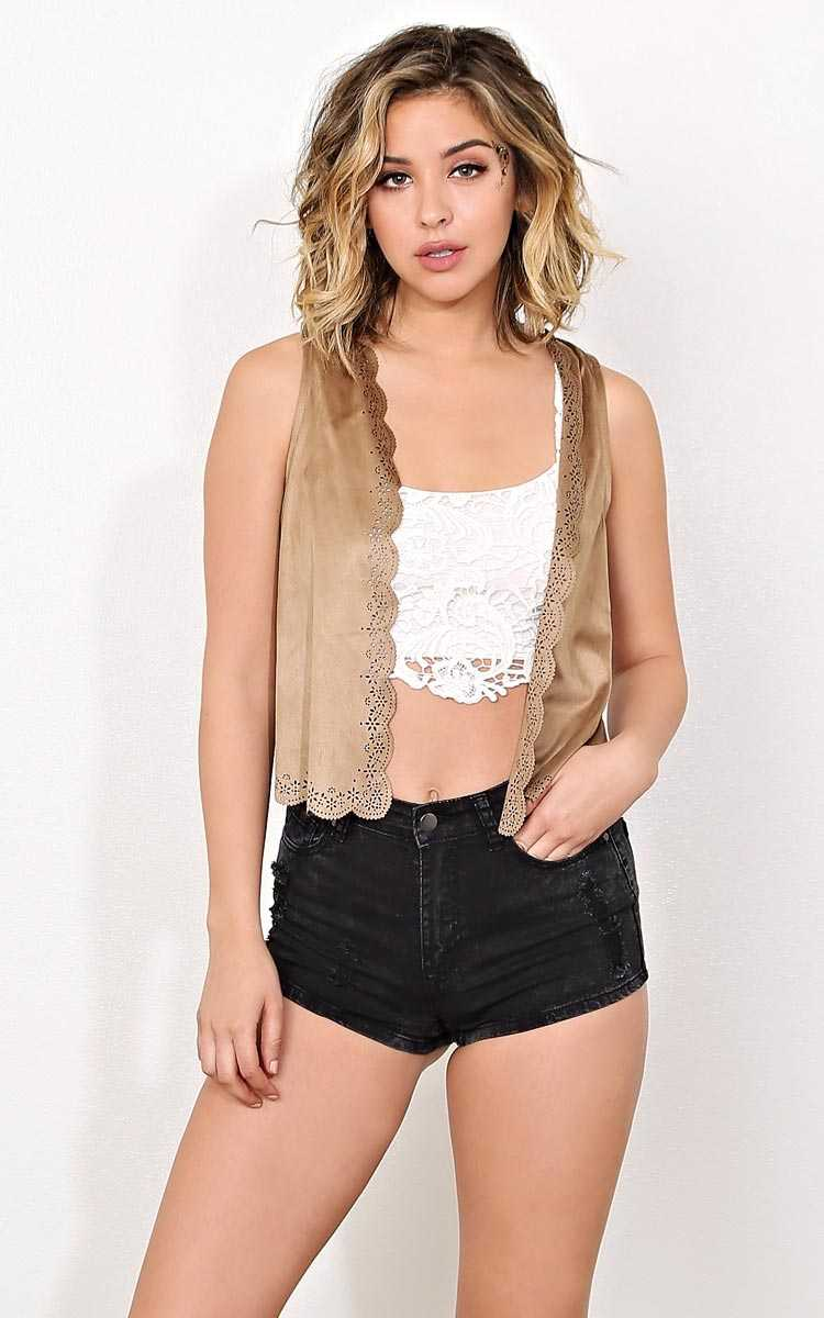 Boho Climate Faux Suede Vest - - Tan in Size by Styles For Less