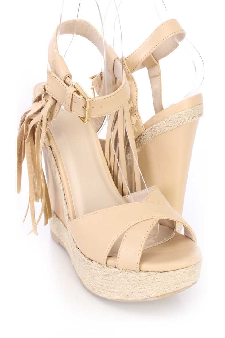 Natural Tassel Cross Strap Espadrille Wedges Faux Leather