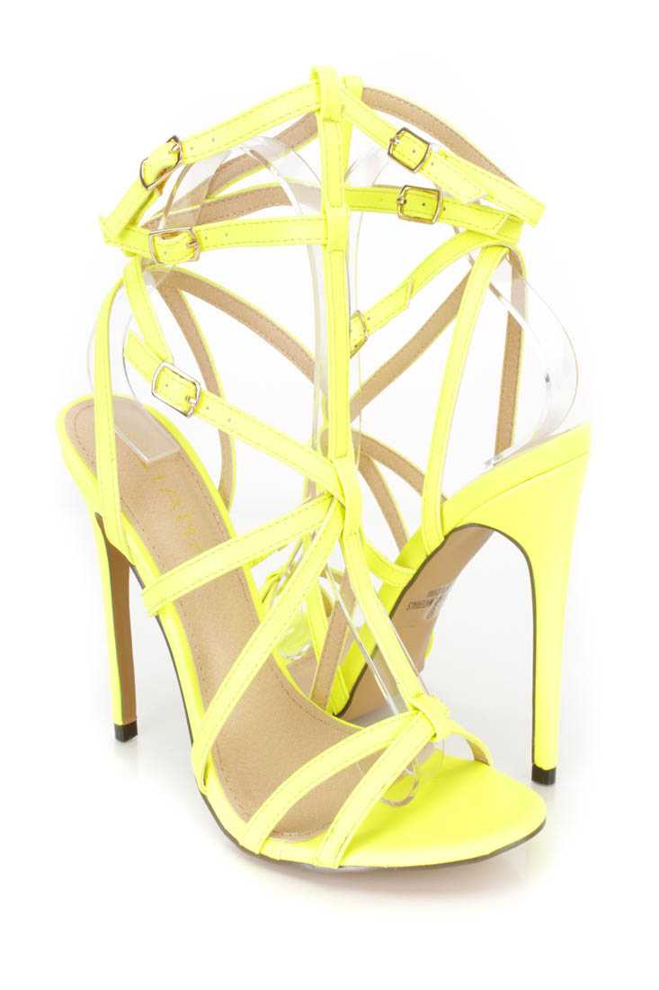 Neon Yellow Strappy Single Sole High Heels Faux Leather