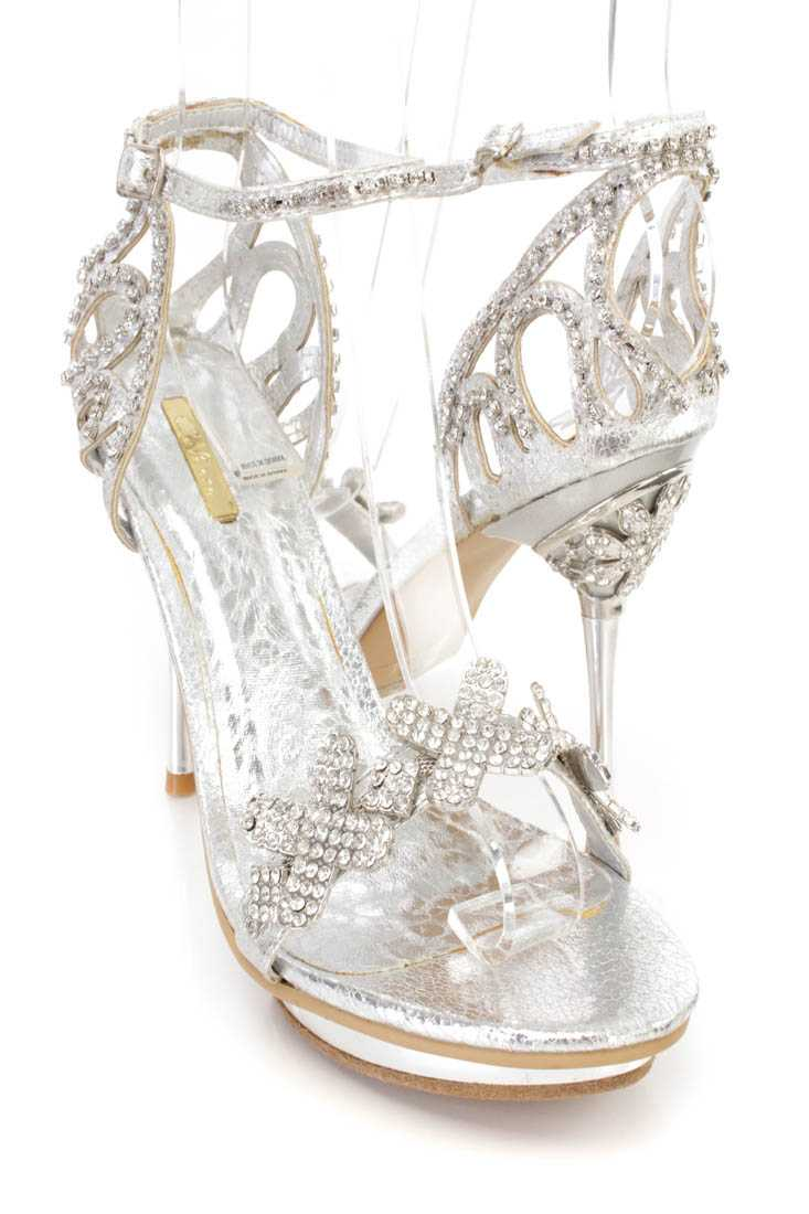 Silver Rhinestone Open Toe Sandal High Heels Faux Leather