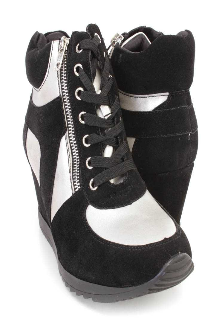 Black Silver Lace Up Sneaker Wedges Faux Suede Leather