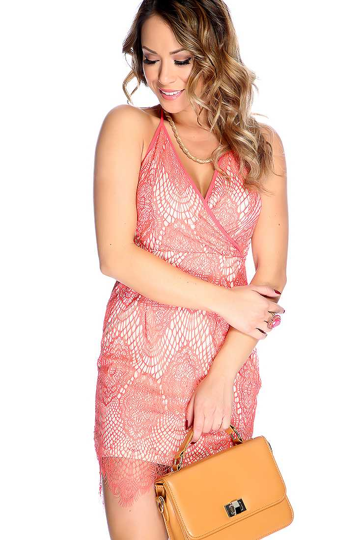 Sexy Coral Strapless Two Tone Lace Overlay Deep V Neck Open Back Party Dress